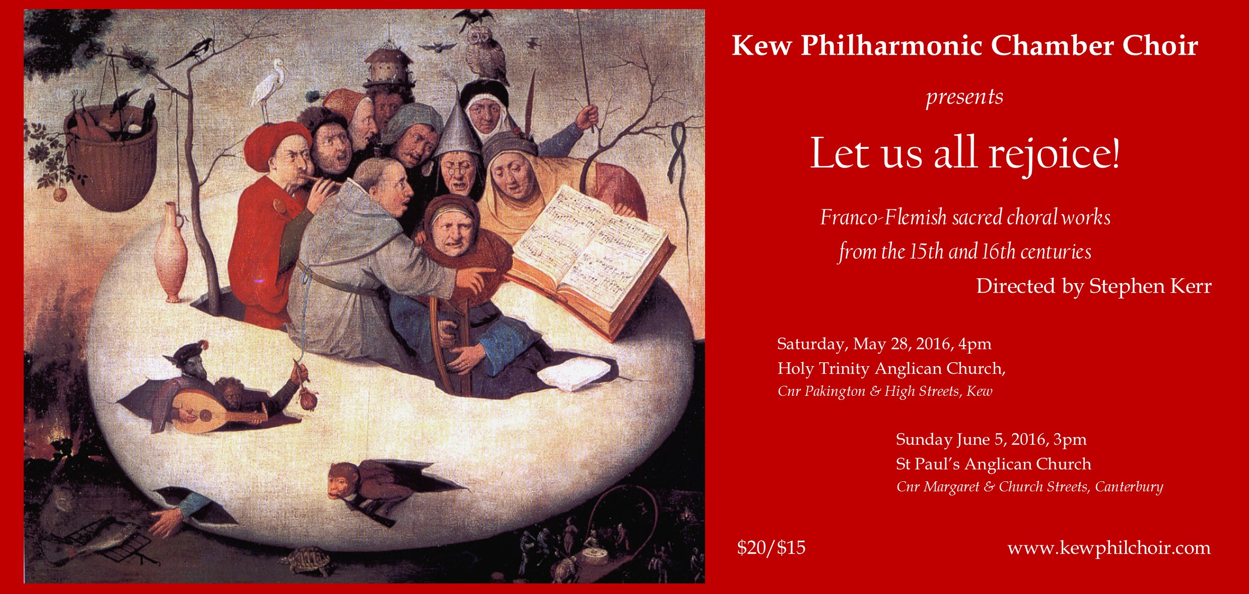 Kew Philharmonic Chamber Choir: Let us all rejoice! flyer
